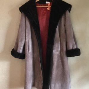 Vintage Teddy Faux Fur Heavyweight Coat Gray Black